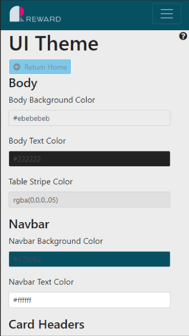 Editing Reward body and navbar